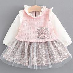 Girls Dress 2017 Fashion Autumn Brand Baby Girls Floral Mesh Dress Princess Dress Baby Ruffles Shirt Clothing Dress For 6-24M