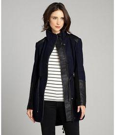 Sam Edelman midnight blue tweed faux leather trim three quarter coat on shopstyle.com