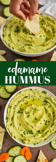 This Edamame Hummus recipe is a delicious spin on hummus! Besides being easy to make and tasting amazing, it is good for you too! Great Recipes, Vegan Recipes, Favorite Recipes, Dip Recipes, Snack Recipes, Lebanese Recipes, Easy Hummus Recipe, Edamame Hummus Recipe Without Tahini, Pico De Gallo