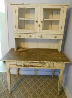 Primitive Farm Table and Cabinet. $400.00, via Etsy.
