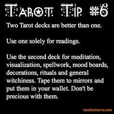Tarot Tip. Use 2 tarot decks: one for readings and the other for daily purposes and learning - Reading Tips, Card Reading, Tarot Card Spreads, Tarot Astrology, Tarot Card Meanings, Tarot Decks, Palmistry, Witchcraft, Spelling