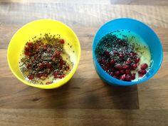 Suikervrij toetje voor de tweeling met Griekse yoghurt, granaatappelpitjes en agave siroop