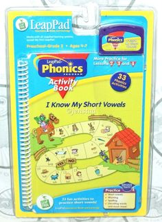 I KNOW MY SHORT VOWELS LEAP-PAD LEAPFROG PHONICS WITH ACTIVITY BOOK & CARTRIDGE #LeapFrog