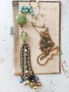 avalancheextra long tassel necklace semi-precious focal by Arey