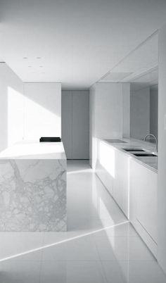 minimal white kitchen | kitchen . Küche . cuisine | Design: JR Lokeren | Architekt: Rik Rossels of AR+ |