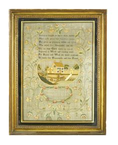 A needlework sampler, early 19th century, embroidered with a central panel of sheep before buildings, and a verse 'Industry taught in early days....' by 'Maria Clark, aged 7 years' all within a floral border Sold for £920