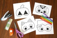 Free Halloween printables: Keep it simple and sweet with these Halloween Masks at It's Always Autumn. Great for younger trick-or-treaters!