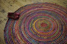 Hand Made ROUND Rainbow colour Braided COTTON & JUTE Rag Rug Recycled Boho Hippy Shabby Chic Traditional Upcycled 120cm Across by BohemianInspiration on Etsy https://www.etsy.com/listing/194855391/hand-made-round-rainbow-colour-braided