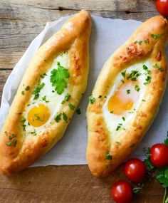This Khachapuri recipe is a crowd-please. Get a step-by-step easy recipe of these delicious Khachapuri Adjaruli - traditional Georgian Cheese Flatbread topped with en egg. Georgian Cuisine, Georgian Food, Armenian Recipes, Russian Recipes, Armenian Food, Easy Appetizer Recipes, Best Appetizers, Brunch Recipes, Quiches