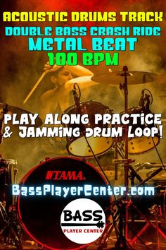 Recorded acoustic drums track. Metal drum beat with crash rides & double bass licks at 100 BPM. Play along drum loop groove for practice & jamming. Backing track for playing metal style music. Develop rhythm and timing while improvising. #DrumTracks #MetalDrums #100BPM #DrumLoops #AcousticDrums #BassPractice #GuitarPractice #Drums Bass Guitar Scales, Play Guitar Chords, Bass Guitar Lessons, Guitar Lessons For Beginners, Drum Lessons, Guitar Songs, Teach Yourself Guitar, Acoustic Drum, Drum Music