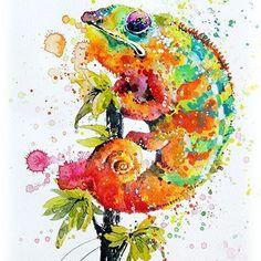 watercolor chameleon - Google Search