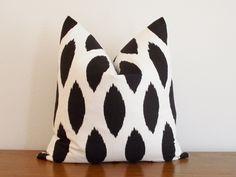 Decorative Pillow Cover Black Ivory/ White Ikat by kassapanola, $25.00