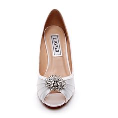 751f4de8f LUXVEER Ivory Wedding Wedges with Silver Rhinestone Brooch