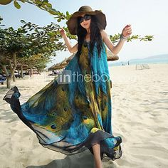 Women's+Simplicity/Beach/Casual/Plus+Sizes+Micro-elastic+Print+Swing+Sleeveless+Maxi+Dress+(Chiffon)+-+AUD+$34.31