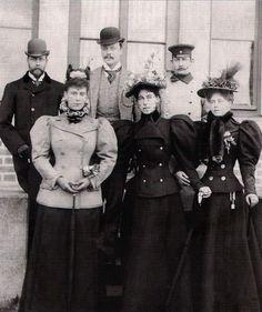 Tea Time at Winter Palace:  Coburg 1896 - Mary Duchess of York, Victoria Melita Grand Duchess of Hesse and Crown Princess Marie of Romania, George Duke of York, Ernst Grand Duke of Hesse and Ferdinand Crown Prince of Romania.