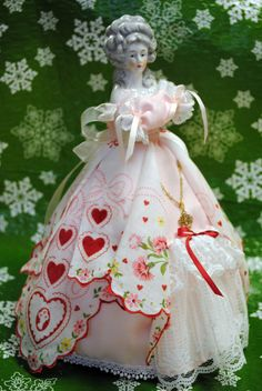 Velma Lea half doll is made with a hanky that belonged to my Grandma Alexander.
