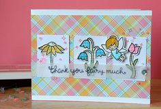 Lawn Fawn Fairy Friends; trio square; Lawn Fawn Perfectly Plaid; flowers; thank you fairy much