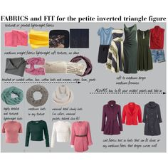 """""""Fabrics and FIT for the petite inverted triangle figure"""" by soliferi-1 on Polyvore"""