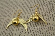 The Golden Snitch earrings the harry potter by laurabestgift, $2.60