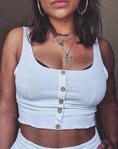5ad628ca18b5f Livia White Button Crop Top