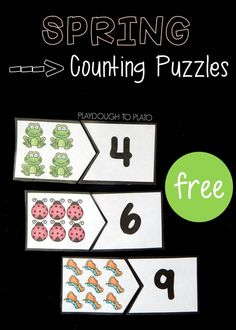 free spring counting puzzles are a fun way to work on counting and identifying numbers to Great preschool math activity or math center.These free spring counting puzzles are a fun way to work on counting and identifying numbers to Great preschool m Preschool Centers, Numbers Preschool, Learning Numbers, Preschool Lessons, Math Centers, Counting Puzzles, Counting Activities, Spring Activities, Preschool Activities