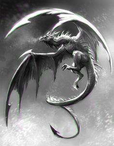 This dragon is incredible. BW Wyvern Speed Painting by Kawiku on deviantART Dragon Medieval, Medieval Tattoo, Cool Dragons, Dragons Den, Dragon's Lair, Dragon Artwork, Cool Dragon Drawings, Dragon Tattoo Designs, Dragon Tattoos
