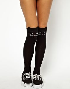 Lazy Oaf Kitty Knee High Socks At Asos