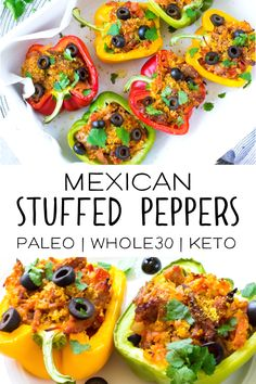 This recipe for Mexican stuffed peppers is a perfect Keto friendly option for an easy weeknight meal the whole family will love. Made with healthy low carb and paleo ingredients it's also perfect for your healthy meal prep! Paleo Recipes, Healthy Dinner Recipes, Mexican Food Recipes, Real Food Recipes, Paleo Dinner, Paleo Meals, Keto Meal, Delicious Recipes, Yummy Food