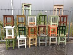 vintage industrial East german wooden prison stools #529