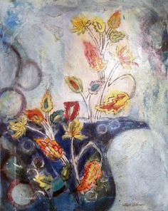 Moroccan Floral  Suite of 4 Mixed Media Paintings by Marti Schmidt.