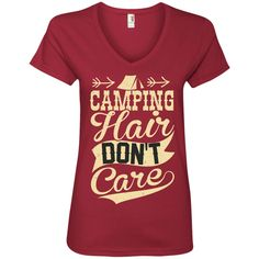 Camping Hair Don't Care Ladies' V-Neck Tee