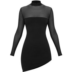 Black Long Sleeve Mesh Top Asymmetric Bodycon Dress ($38) ❤ liked on Polyvore featuring dresses, mesh dress, asymmetric bodycon dress, longsleeve dress, body conscious dress and long sleeve dress