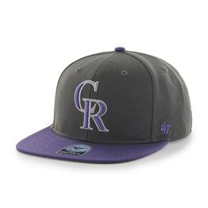new arrival 1f0a4 1efb8 Colorado Rockies Sure Shot Two Tone Captain Charcoal 47 Brand Adjustable Hat