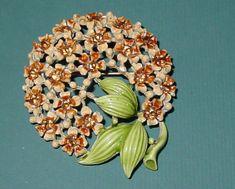 Green Enamel Brooch Flowers Pink by Orangebirdofparadise on Etsy, $34.99