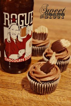 Chocolate covered potato chip cupcakes made with Rogue Chocolate Stout. Steadily incorporating my love for food and ,y love for alcohol