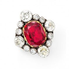 An antique spinel and diamond cluster ring, circa 1870
