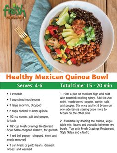 This light and nutritious grain bowl is loaded with fresh ingredients and the bold flavor of Fresh Cravings Restaurant Style Salsa. Good Recipes on Cooking Quinoa on a Stovetop Healthy Diet Recipes, Healthy Meal Prep, Mexican Food Recipes, Whole Food Recipes, Vegetarian Recipes, Cooking Recipes, Cooking Tips, Healthy Food, Clean Eating Recipes For Dinner