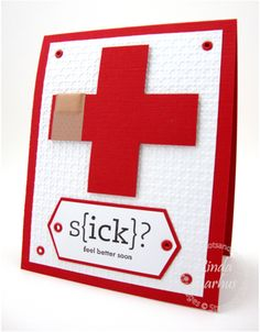 handmade get well card ... red cross with a bandaid around one side ... red base card ... embossing folder texture for the main layer ... great card!! ... Stampin' Up!
