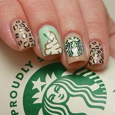 Starbucks nails, love the whipped cream nail :)