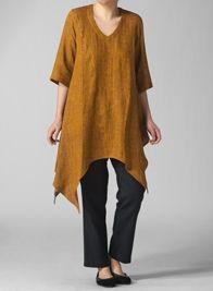 Linen V-Neck Short Sleeve Tunic