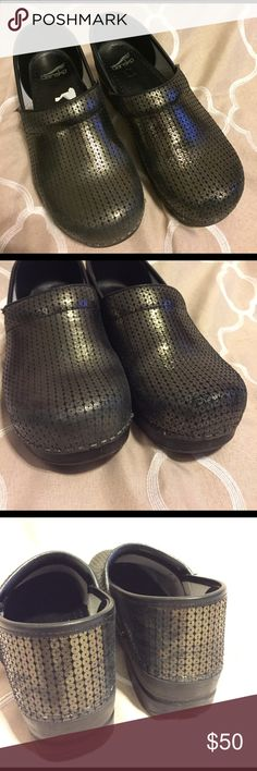 Sequin Dansko Shoes Adorable sequin danskos! These have been lightly worn. MINOR wear on heels and toes, and where shoes might rub together. See photos. Not noticeable when wearing but I always try to over-describe. No trades. Dansko Shoes