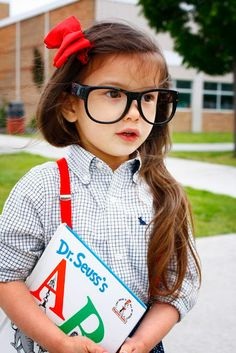 Ideas for your child's first day of school photo: Take a nerdy photo for fun