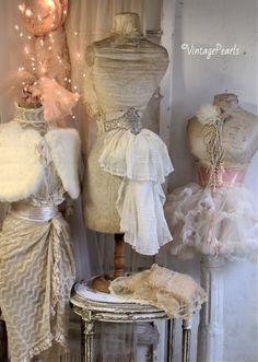 Gorgeous lady's!! #mannequin#corset#pink#cape#dress# shabby Ballet Shop, Dress Form Mannequin, Cape Dress, Vintage Gowns, Vintage Pearls, Vintage Shabby Chic, Rock Style, Mannequins, Corsets