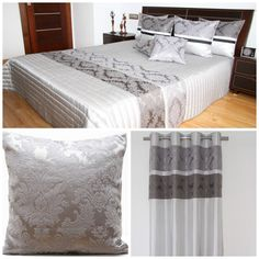 Stylowe dekoracje do sypialni koloru szarego ze srebnym wzorem
