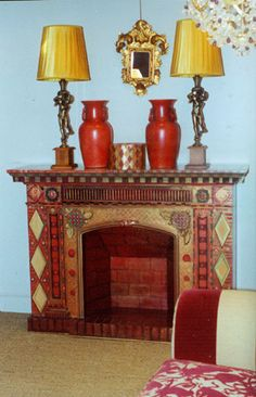 Miscellaneous Furniture and Cabinetry Bright Painted Furniture, Hand Painted Furniture, Funky Furniture, Paint Furniture, Repurposed Furniture, Furniture Decor, Home Fireplace, Faux Fireplace, Fireplace Ideas