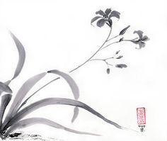 """Arte originale """"Giglio selvatico"""" - giapponese sumi-e pittura - lavaggio inchiostro - parete arredamento - decorazione dormitorio - dono per sua - bianco e nero - minimalista"""