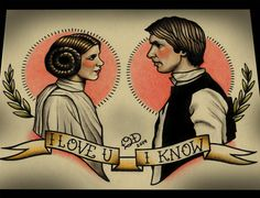 Princess Leia and Han Solo Tattoo Art Print on Etsy, $28.00