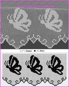 Filet Crochet, Crochet Lace Edging, Crochet Borders, Crochet Diagram, Crochet Chart, Crochet Doilies, Crochet Stitches, Doily Patterns, Embroidery Patterns