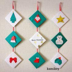 """445 Likes, 29 Comments - カミキィ (kamikey) (@kamikey_origami) on Instagram: """"クリスマスのつるし飾り「単色折り紙だけで」にこだわって作ってみました^ ^ それぞれのモチーフの折り方はプロフィールにリンクがあるYouTube""""のkamikey origami…"""""""