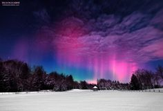 View larger.   Mike Taylor calls this photo Moonlight Aurora II.  He captured it on February 19, 2014.